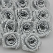 40pcs wholesale silver Metallic Glitter ribbon Flower Rose trimming sewing A082S