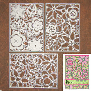Layering Flowers w Leaves Background Trio Cutting & Embossing Dies – Cards +