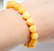 Unique Genuine Baltic Amber Adult Bracelet Stretch Egg Yolk Round Beads 12.6 g