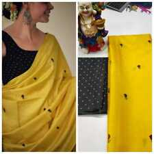 Soft Silk Saree Yellow Rose Printed Beautiful Indian Party Wear Saree Blouse SS