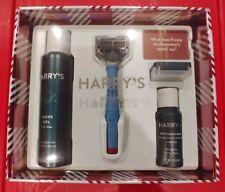 Harry's Gift Set Blue Razor Handle Blade Shave Gel Post Shave Balm NEW