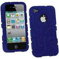 New Tribal Silicone Skin Case Cover Fit for Apple iPhone 4 - Blue