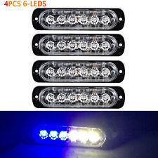 4X6 LED Car Emergency Hazard Warning 18W Truck Flash Strobe Light Bar White&Blue