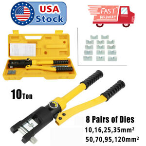 10 Ton 8 Dies Hydraulic Crimper Crimping Tool Wire Battery Cable Lug Terminal