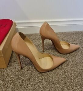 Christian Louboutin 37.5 So Kate 120 Nude Patent Leather