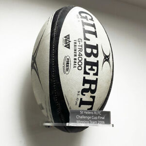 Portrait Rugby Ball Holder Wall Bracket - With Inscription