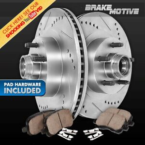 For 2000 - 2004 Ford F150 2WD 5Lug Front Drill Slot Brake Rotors & Ceramic Pads