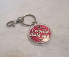 """would date Me"""" Dark Pink black Silver Novelty Key Ring Chain with Belt Clip """"I"""