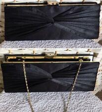 Ladies Women's Black Pleated Design Satin Evening Prom Clutch Bag Chain Strap