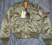 NWT Alpha Industries MA-1 Bomber Jacket Vintage Olive Green Mens Slim Fit Size S