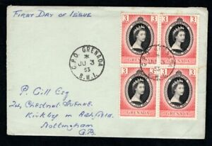 Grenada - 1953 QE2 Coronation Block of 4 Plain First Day Cover