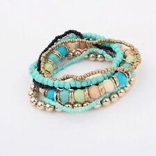 Women Charm Silver Multi-layer Beaded Boho Bracelet Bangle