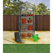 4 Tier Greenhouse Steel Frame Plastic PVC Zip Up Cover Garden Plants Growing