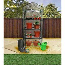 4 Tier Greenhouse Steel Frame Plastic PVC Zip Up Cover Garden Plants Growing