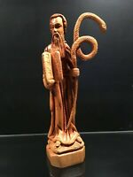Hand Carved Olive Wood Biblical Sculpture of Moses with the Serpent Staff