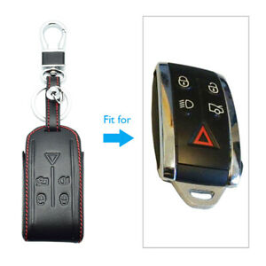 For Jaguar XK XF XJ8 XRR 2007- 2013 Leather Key Case Keychain Accessories 1 PACK