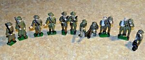 11 Grey Iron VTG Toy Soldiers Wounded Radio Rifles Barclay Manoil Kneeling WW1