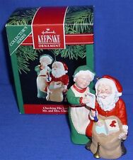 Hallmark Series Ornament Mr and Mrs Claus #6 1991 Checking His List Santa Used