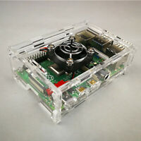 Acrylic Clear Case Enclosure Box /& Cooling Fan for Raspberry Pi 2//3 Model B+
