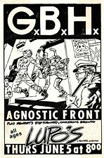 GBH - Concert VINTAGE BAND POSTERS Song Rock Travel Old Advert #ob
