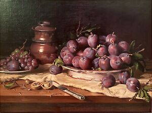 """Harley Cameron Griffiths (Aust 1908-1981) Artwork """"Blood Plums and Grapes"""""""