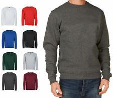 New Mens Sweatshirt Plain Fleece Sweat Top Pullover Crew Neck Jumper Work Jersey
