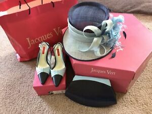 Jacques Vert Matching Blue Hat, Handbag And Shoes Size 4