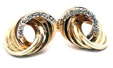 14 Karat Yellow & White Gold Handmade Diamond Accented Love Knot Stud Earrings