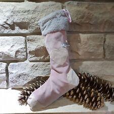 Nikolaus Stiefel Socke Vintage  Shabby Chic altrosa Weihnachten Geschenk Herz