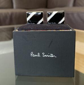 Brand New PAUL SMITH Enamel 2 Stripe Black White Cufflinks