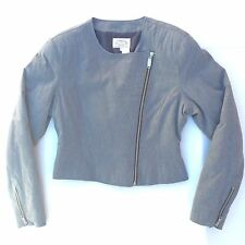 Armani Jeans Women's Jacket Size Large Gray A Symmetrical Zip Up Fashion Blazer
