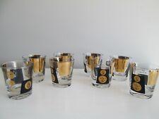 Vintage Cera Black & Gold Coin Money Old Fashion Glasses Set of 8 Mid Century