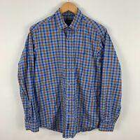 Gazman Mens Button Up Shirt Medium Multicoloured Plaid Long Sleeve Collared