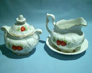 Rosina China Queens Virginia Strawberry Milk Jug & Saucer + Lidded Sugar Bowl VG