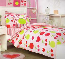 KIDS ROOM TUTTI FRUTTI CHERRIES, APPLES & HEARTS QUILT COVER SET SINGLE NEW