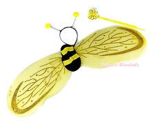 Halloween Yellow Black Bumble Bee Wing Antennae Headband Flower Wand Costume Set