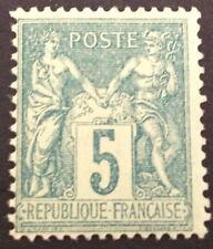 timbre france, n°75, 5c vert type sage , xx , BC, cote 60e