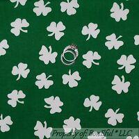 BonEful Fabric FQ Cotton Quilt VTG Green White 3 Leaf Clover Club Irish Shamrock