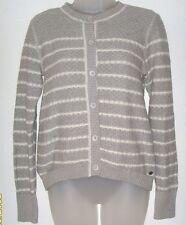 Women's XS gray / white stripes button down sweater (Eddie Bauer)