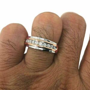 Men's Diamond+ 10K White & Rose Gold Over 1.45ct Wedding Band Ring Channel Set