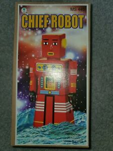 Schylling Chief Robot Tin Wind Up with Key & Box Discontinued RARE MS 445