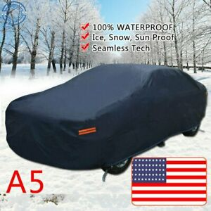 7 Layers Full Car Cover Waterproof W/Non-Abrasive Cotton Lining Dark Blue PEVA