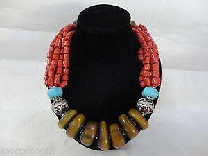 Handcrafted Moroccan Berber Artisan Imitation Amber Gemstones Berber Necklace