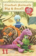Crochet Animals Big & Small Red Heart Patterns Monkey Frog Bear Dino Lion + NEW