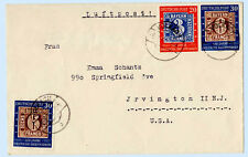 Germany 1950 Airmail Cover Volkach to New Jersey USA 667 668 x2 CV $157 Stamp on