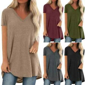 Plus Size Women V Neck Short Sleeve Jersey T-Shirt Tunic Blouse Casual Tops Tees