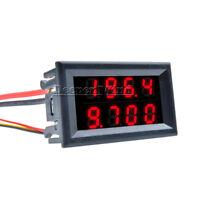 DC 0-200V 10A 4 Bit 5 Wires Voltmeter Ammeter Red+Red LED Amp Dual Digital Volt