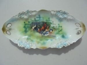 Antique RS Prussia Porcelain Bowl w Rooster Chickens & Duck