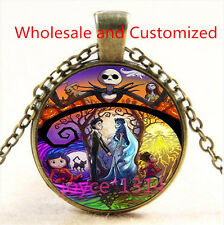 Nightmare Before Christmas Cabochon bronze Glass Chain Pendant Necklace TS-4773