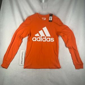 Adidas Go-To Tee Long Sleeve Big 3-stripe Logo Orange t-shirt Mens Size S NWT
